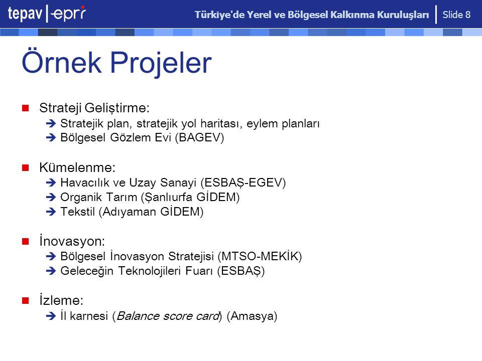 Türkiye'de Yerel ve Bölgesel Kalkınma Kuruluşları Slide 8 Ö rnek Projeler Strateji Geliştirme:  Stratejik plan, stratejik yol haritası, eylem planlar