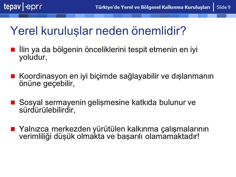 Türkiye'de Yerel ve Bölgesel Kalkınma Kuruluşları Slide 9 Yerel kuruluşlar neden ö nemlidir? İlin ya da b ö lgenin ö nceliklerini tespit etmenin en iy