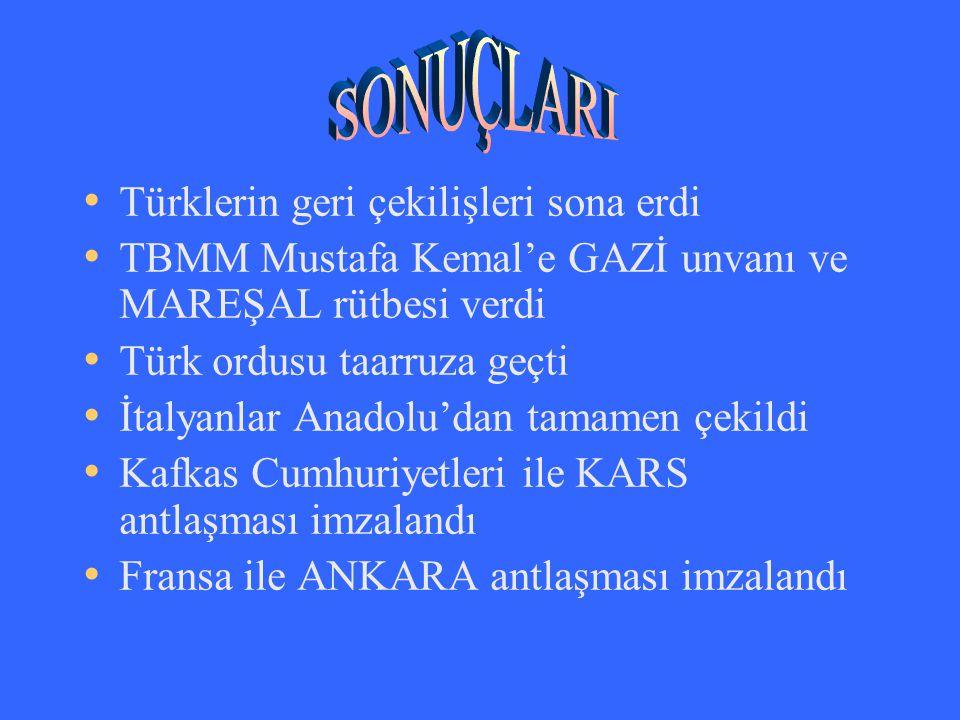 Türklerin geri çekilişleri sona erdi TBMM Mustafa Kemal'e GAZİ unvanı ve MAREŞAL rütbesi verdi Türk ordusu taarruza geçti İtalyanlar Anadolu'dan tamam