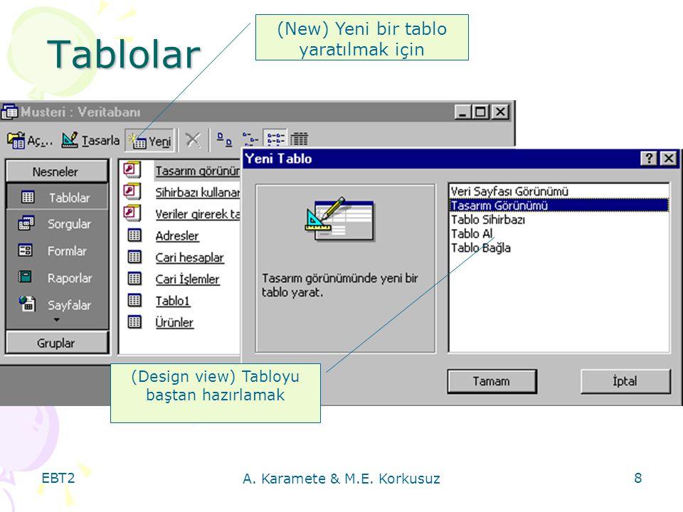 EBT2 A.Karamete & M.E. Korkusuz 9 TABLO NEDİR. Bir veritabanında verilerin saklandığı nesnelerdir.