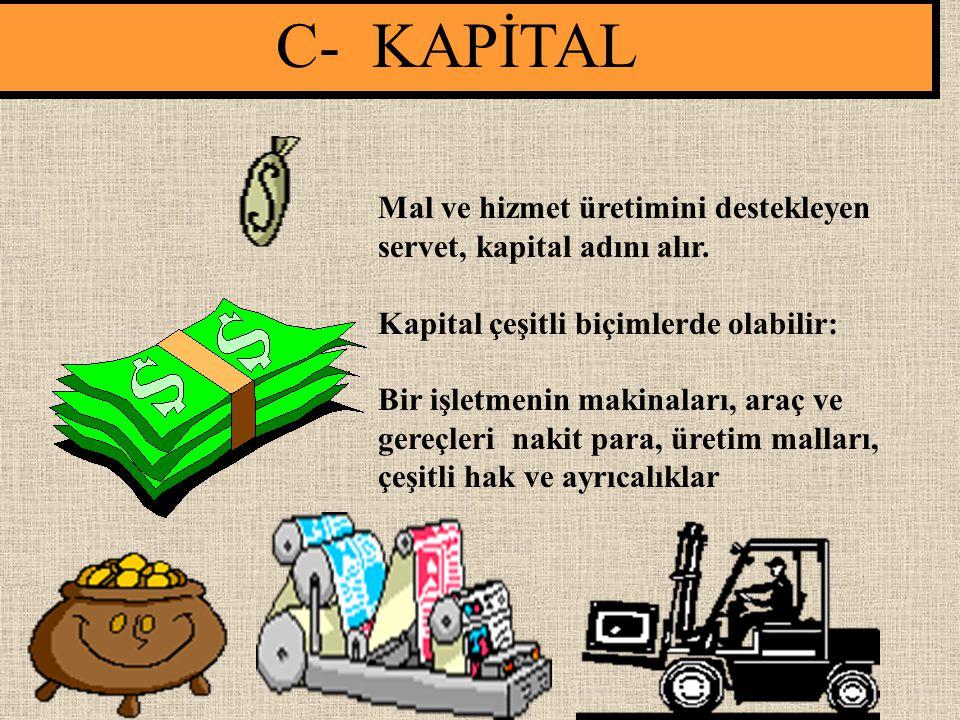C- KAPİTAL Mal ve hizmet üretimini destekleyen servet, kapital adını alır. Kapital çeşitli biçimlerde olabilir: Bir işletmenin makinaları, araç ve ger