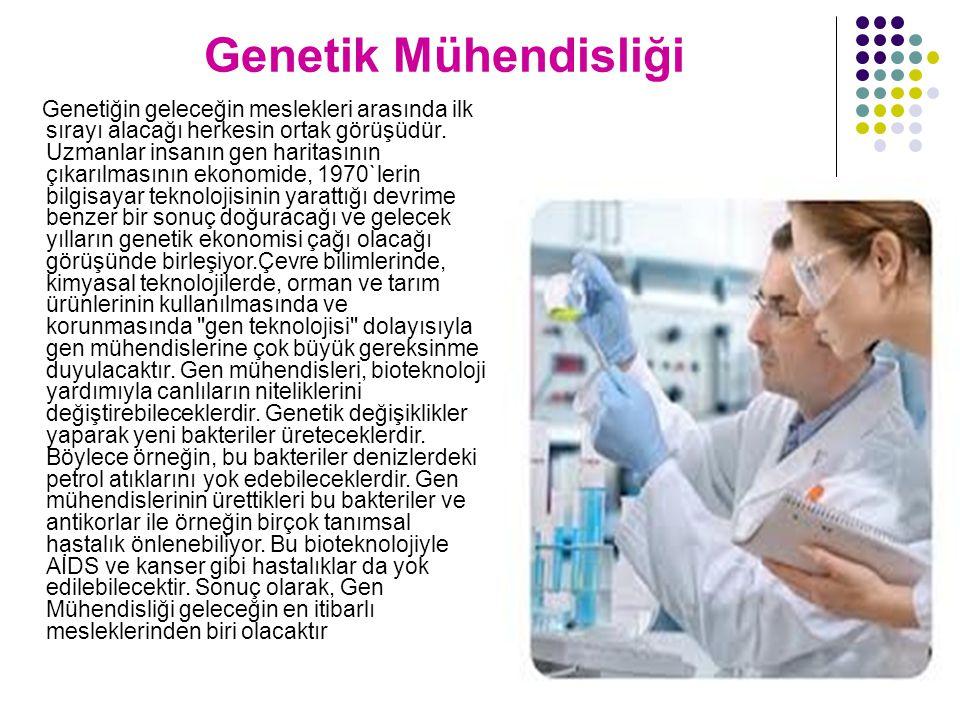 Genetik Mühendisliği Genetiğin geleceğin meslekleri arasında ilk sırayı alacağı herkesin ortak görüşüdür. Uzmanlar insanın gen haritasının çıkarılması