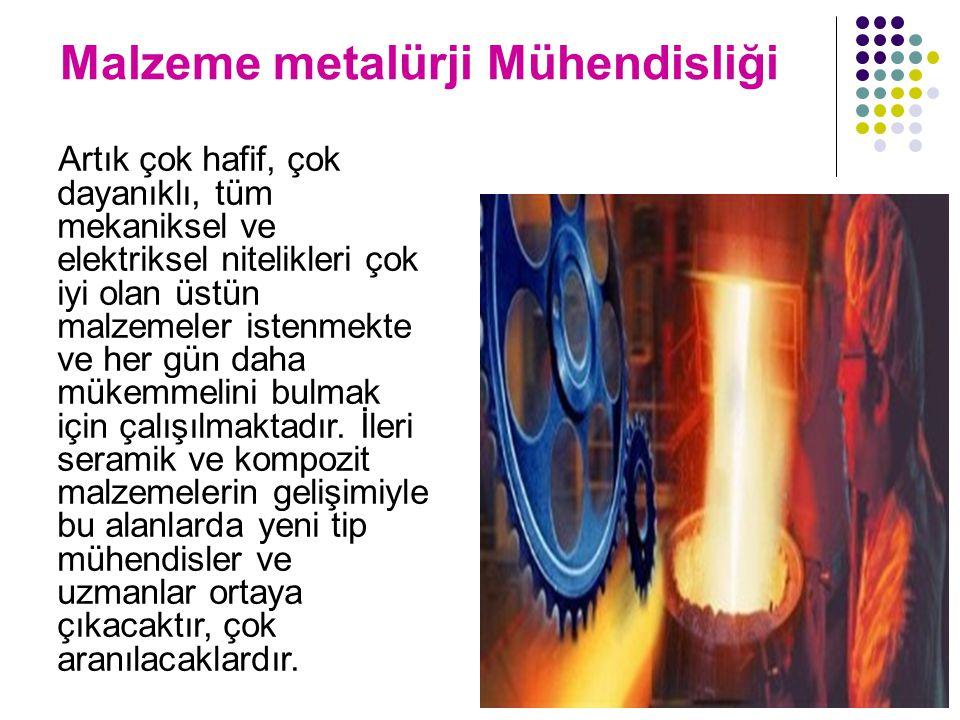 Malzeme metalürji Mühendisliği Artık çok hafif, çok dayanıklı, tüm mekaniksel ve elektriksel nitelikleri çok iyi olan üstün malzemeler istenmekte ve her gün daha mükemmelini bulmak için çalışılmaktadır.