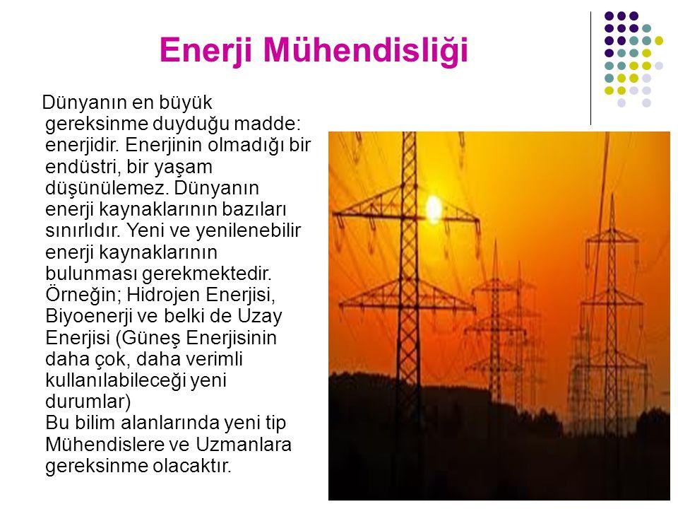 Enerji Mühendisliği Dünyanın en büyük gereksinme duyduğu madde: enerjidir. Enerjinin olmadığı bir endüstri, bir yaşam düşünülemez. Dünyanın enerji kay