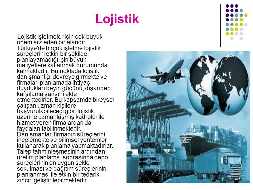 Lojistik Lojistik işletmeler için çok büyük önem arz eden bir alandır. Türkiye'de birçok işletme lojistik süreçlerini etkin bir şekilde planlayamadığı
