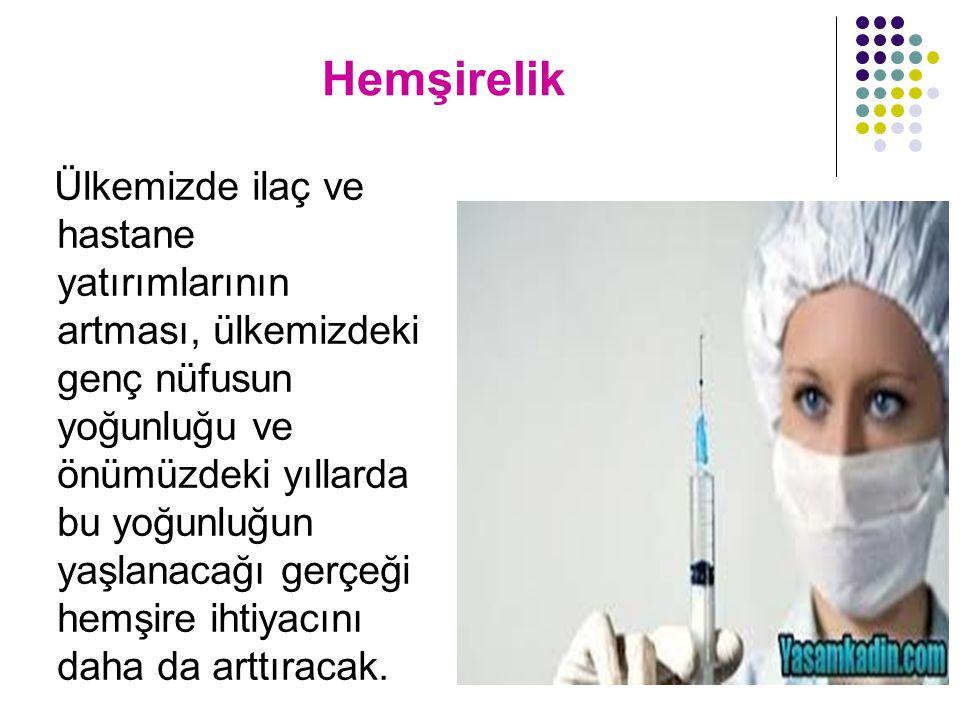 Hemşirelik Ülkemizde ilaç ve hastane yatırımlarının artması, ülkemizdeki genç nüfusun yoğunluğu ve önümüzdeki yıllarda bu yoğunluğun yaşlanacağı gerçe