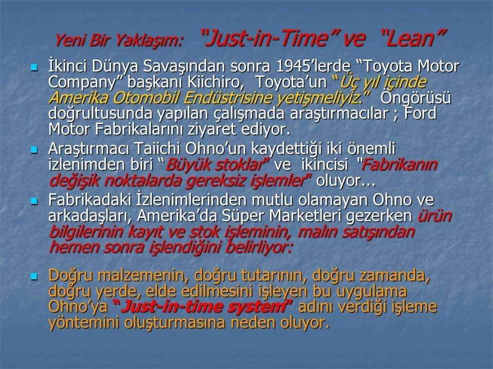 Yeni Bir Yaklaşım: Just-in-Time ve Lean İkinci Dünya Savaşından sonra 1945'lerde Toyota Motor Company başkanı Kiichiro, Toyota'un Üç yıl içinde Amerika Otomobil Endüstrisine yetişmeliyiz. Öngörüsü doğrultusunda yapılan çalışmada araştırmacılar ; Ford Motor Fabrikalarını ziyaret ediyor.