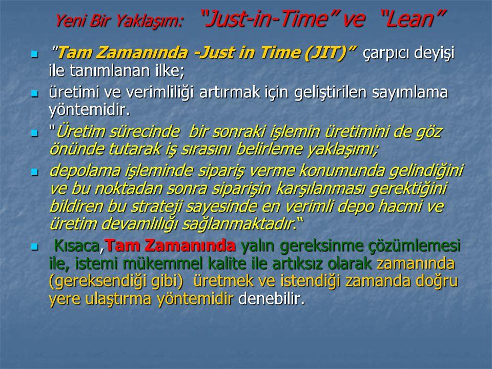 Yeni Bir Yaklaşım: Just-in-Time ve Lean Tam Zamanında -Just in Time (JIT) çarpıcı deyişi ile tanımlanan ilke; Tam Zamanında -Just in Time (JIT) çarpıcı deyişi ile tanımlanan ilke; üretimi ve verimliliği artırmak için geliştirilen sayımlama yöntemidir.