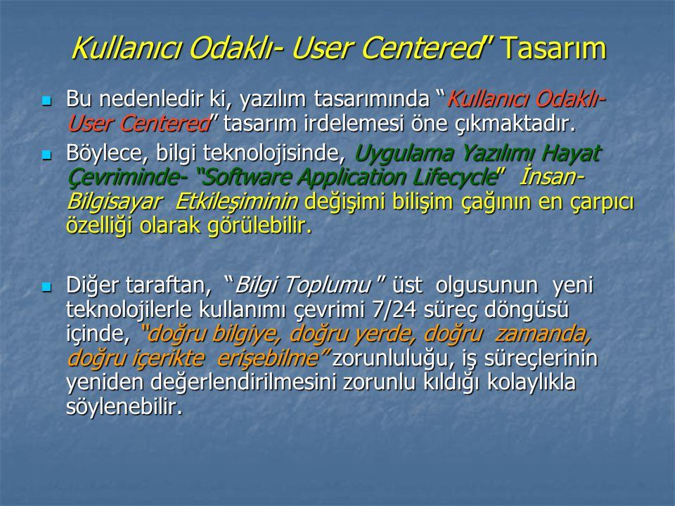 Kullanıcı Odaklı- User Centered Tasarım Bu nedenledir ki, yazılım tasarımında Kullanıcı Odaklı- User Centered tasarım irdelemesi öne çıkmaktadır.