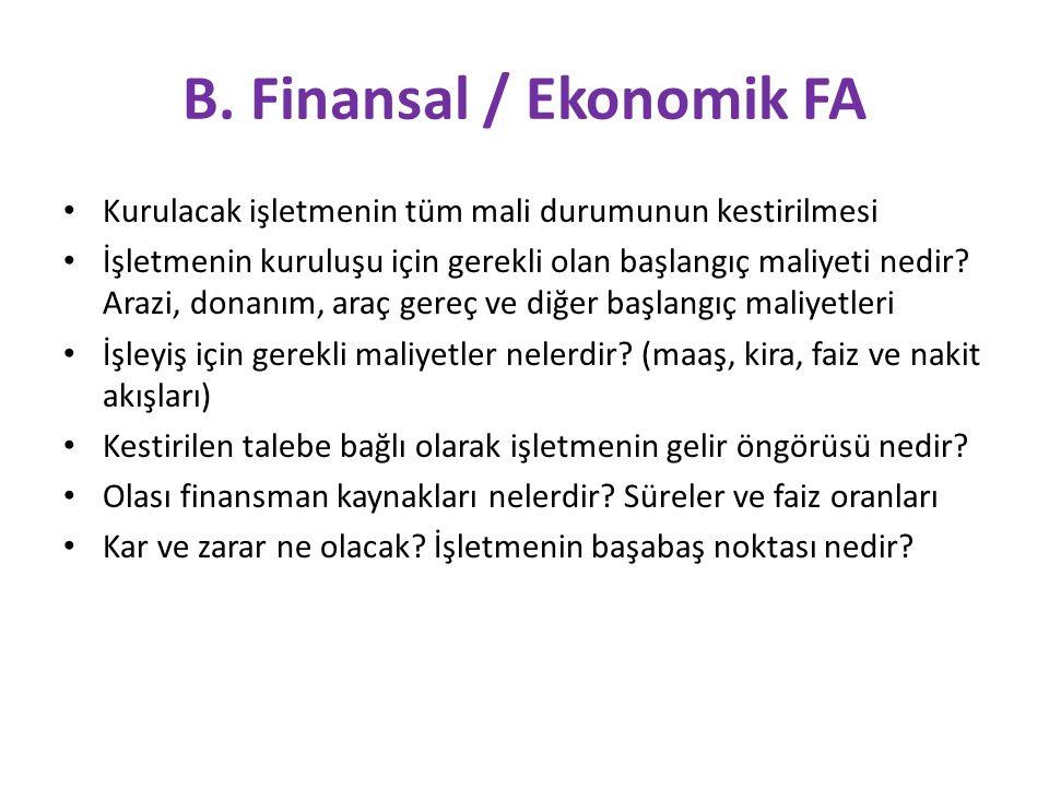 B. Finansal / Ekonomik FA Kurulacak işletmenin tüm mali durumunun kestirilmesi İşletmenin kuruluşu için gerekli olan başlangıç maliyeti nedir? Arazi,