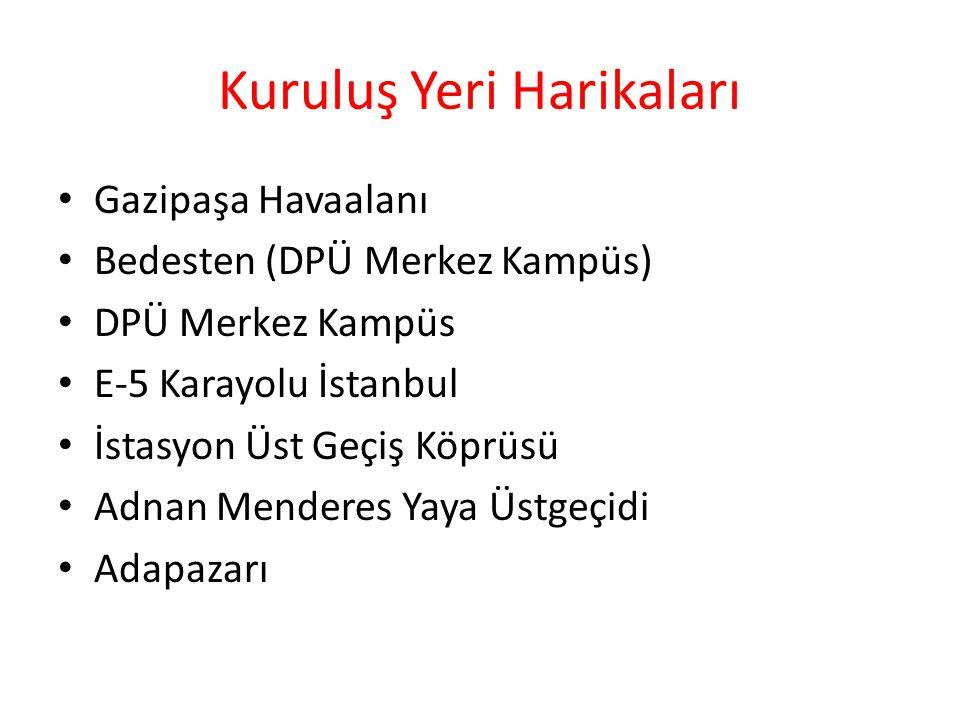 Kuruluş Yeri Harikaları Gazipaşa Havaalanı Bedesten (DPÜ Merkez Kampüs) DPÜ Merkez Kampüs E-5 Karayolu İstanbul İstasyon Üst Geçiş Köprüsü Adnan Menderes Yaya Üstgeçidi Adapazarı