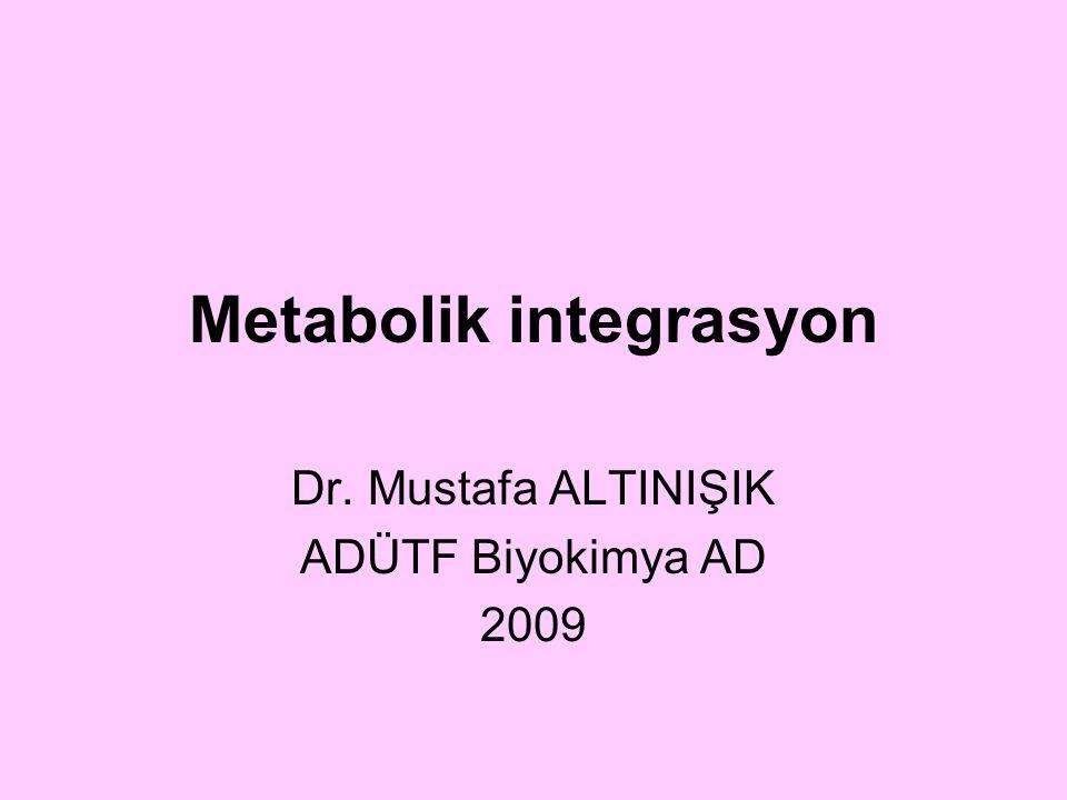 Metabolik integrasyon Dr. Mustafa ALTINIŞIK ADÜTF Biyokimya AD 2009