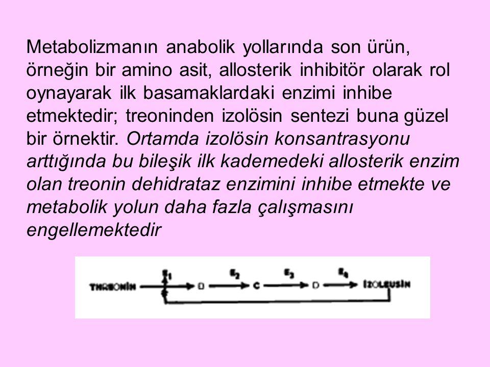 Metabolizmanın anabolik yollarında son ürün, örneğin bir amino asit, allosterik inhibitör olarak rol oynayarak ilk basamaklardaki enzimi inhibe etmekt