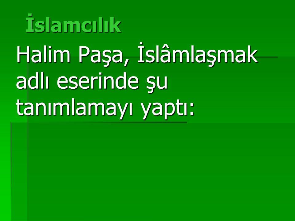 İslamcılık Halim Paşa, İslâmlaşmak adlı eserinde şu tanımlamayı yaptı: