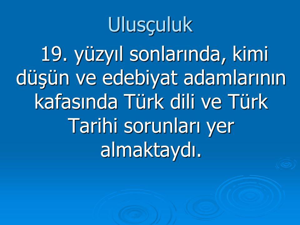 Ulusçuluk 19. yüzyıl sonlarında, kimi düşün ve edebiyat adamlarının kafasında Türk dili ve Türk Tarihi sorunları yer almaktaydı. 19. yüzyıl sonlarında