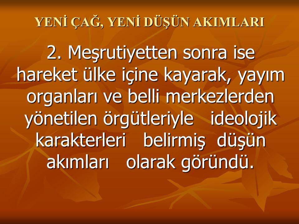 YENİ ÇAĞ, YENİ DÜŞÜN AKIMLARI 2.