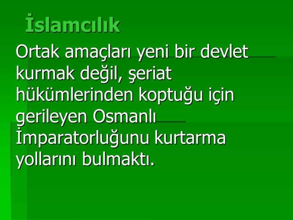 İslamcılık Ortak amaçları yeni bir devlet kurmak değil, şeriat hükümlerinden koptuğu için gerileyen Osmanlı İmparatorluğunu kurtarma yollarını bulmaktı.