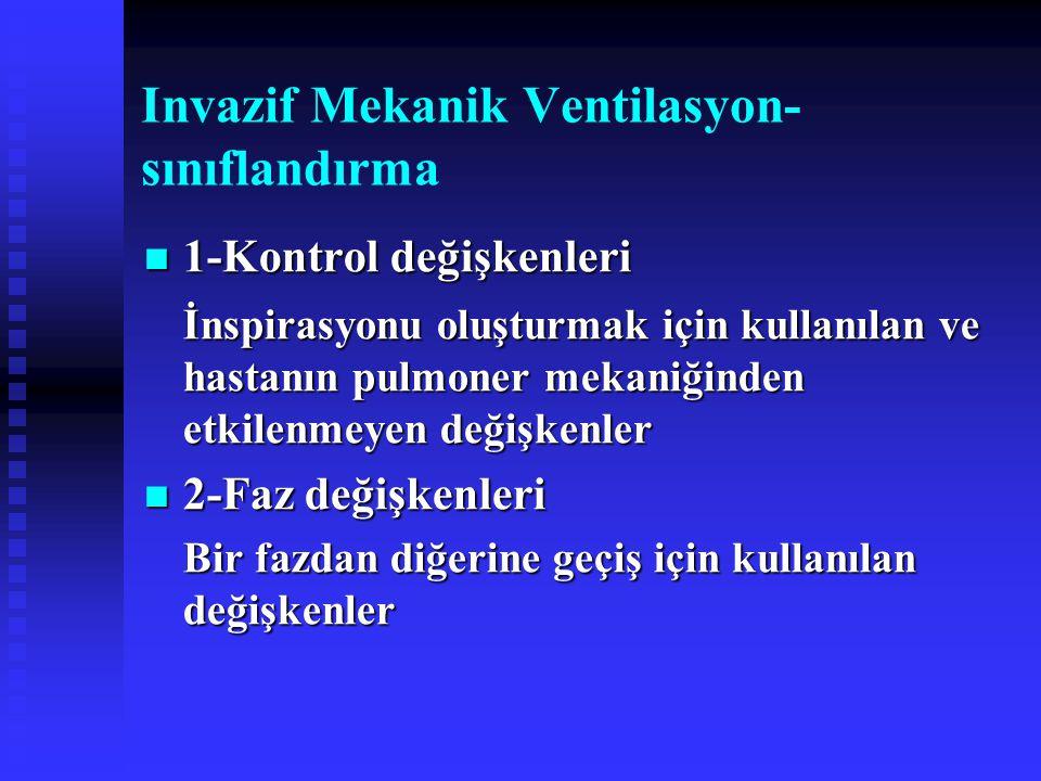 Invazif Mekanik Ventilasyon- sınıflandırma 1-Kontrol değişkenleri 1-Kontrol değişkenleri İnspirasyonu oluşturmak için kullanılan ve hastanın pulmoner