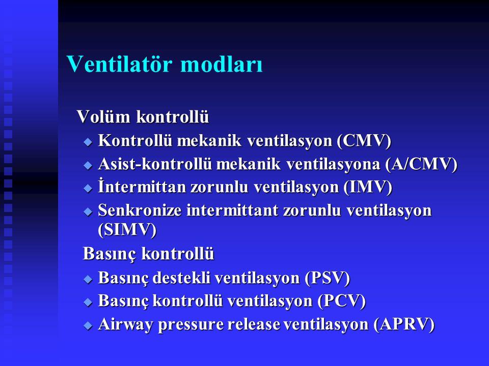 Ventilatör modları Volüm kontrollü  Kontrollü mekanik ventilasyon (CMV)  Asist-kontrollü mekanik ventilasyona (A/CMV)  İntermittan zorunlu ventilas