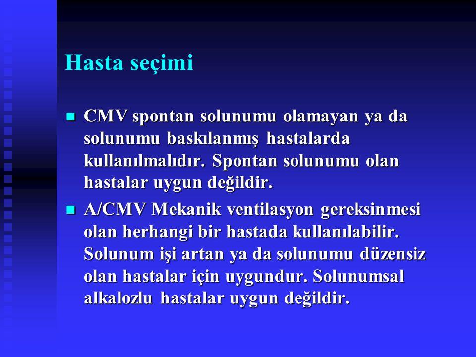 Hasta seçimi CMV spontan solunumu olamayan ya da solunumu baskılanmış hastalarda kullanılmalıdır. Spontan solunumu olan hastalar uygun değildir. CMV s