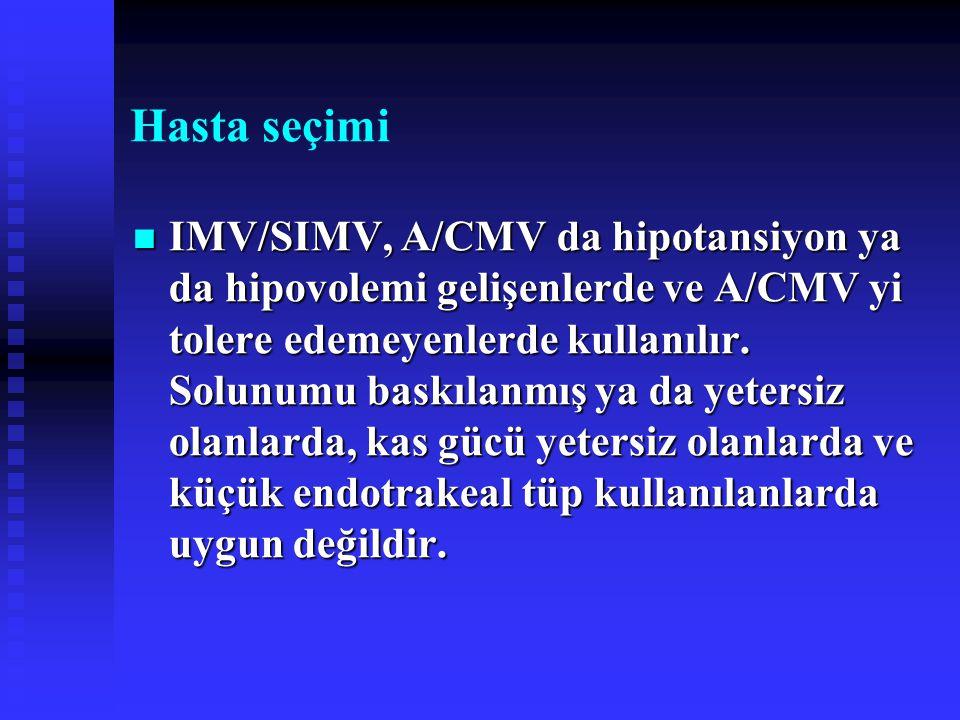 Hasta seçimi IMV/SIMV, A/CMV da hipotansiyon ya da hipovolemi gelişenlerde ve A/CMV yi tolere edemeyenlerde kullanılır. Solunumu baskılanmış ya da yet
