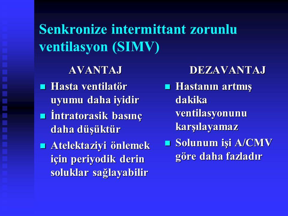 Senkronize intermittant zorunlu ventilasyon (SIMV) AVANTAJ Hasta ventilatör uyumu daha iyidir Hasta ventilatör uyumu daha iyidir İntratorasik basınç d