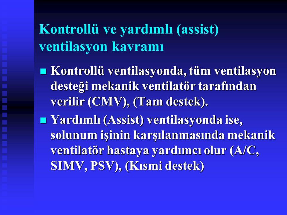 Kontrollü ve yardımlı (assist) ventilasyon kavramı Kontrollü ventilasyonda, tüm ventilasyon desteği mekanik ventilatör tarafından verilir (CMV), (Tam