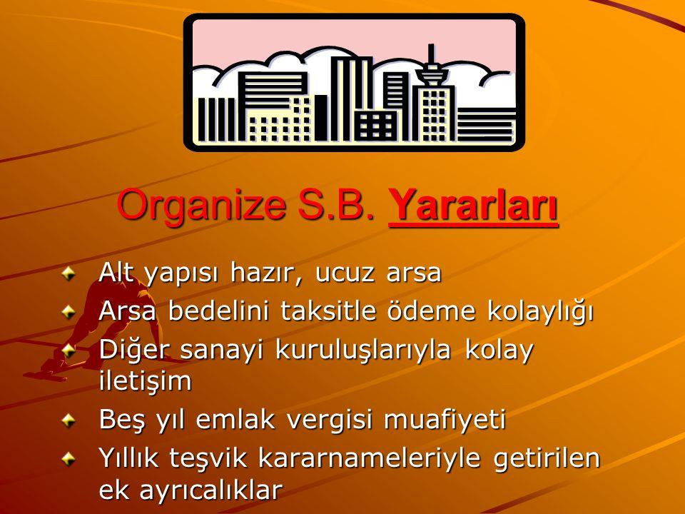 Organize S.B. Yararları Alt yapısı hazır, ucuz arsa Arsa bedelini taksitle ödeme kolaylığı Diğer sanayi kuruluşlarıyla kolay iletişim Beş yıl emlak ve