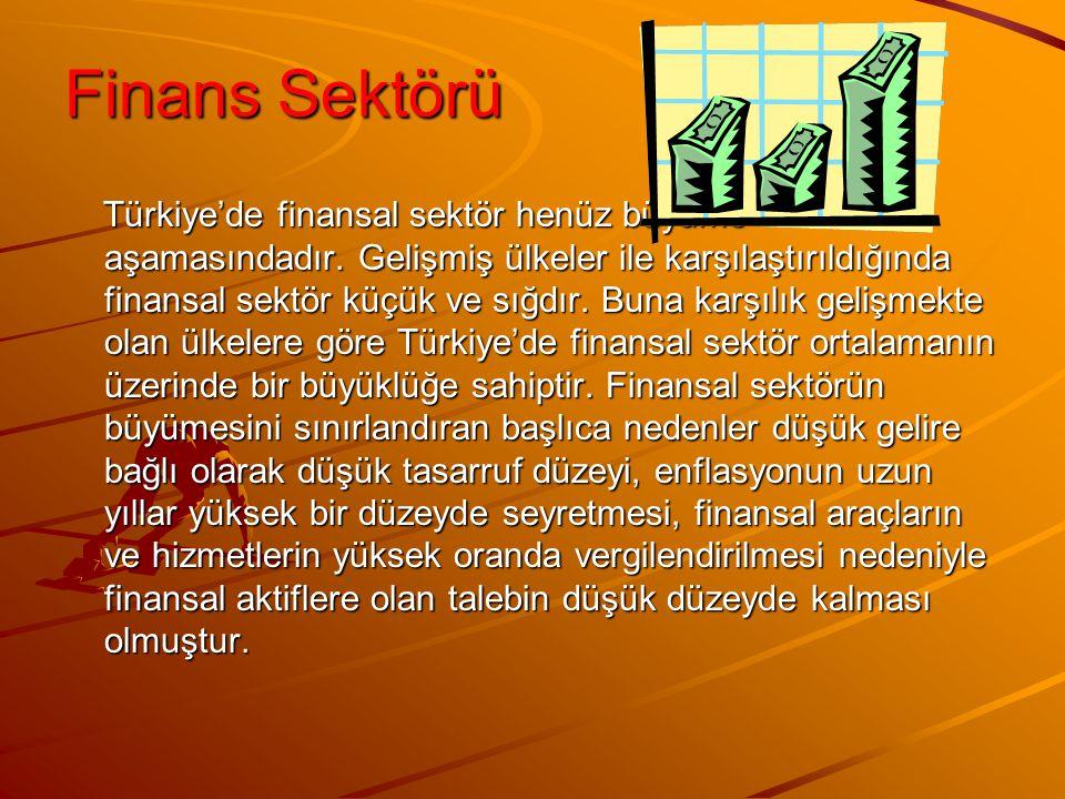 Finans Sektörü Türkiye'de finansal sektör henüz büyüme aşamasındadır. Gelişmiş ülkeler ile karşılaştırıldığında finansal sektör küçük ve sığdır. Buna