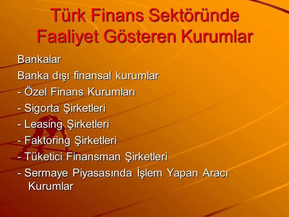 Türk Finans Sektöründe Faaliyet Gösteren Kurumlar Bankalar Banka dışı finansal kurumlar - Özel Finans Kurumları - Sigorta Şirketleri - Leasing Şirketl