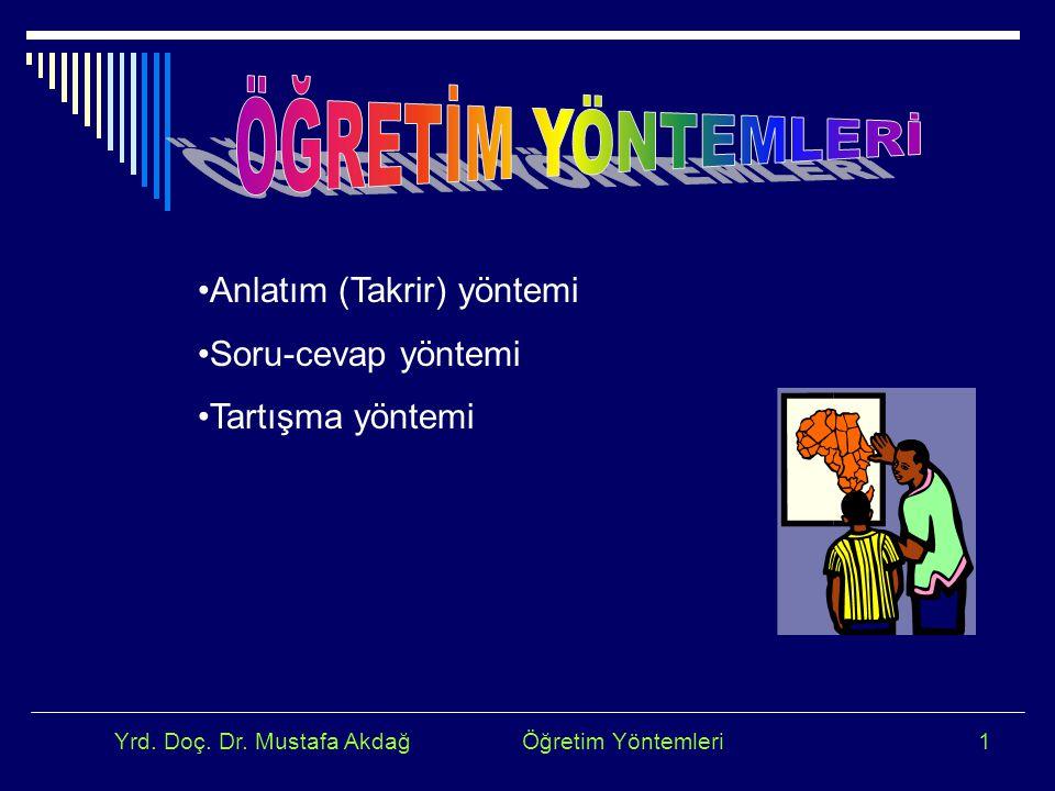 Yrd. Doç. Dr. Mustafa Akdağ Öğretim Yöntemleri1 Anlatım (Takrir) yöntemi Soru-cevap yöntemi Tartışma yöntemi