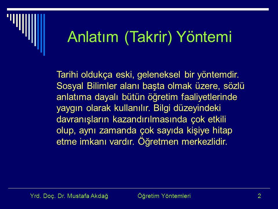 Yrd. Doç. Dr. Mustafa Akdağ Öğretim Yöntemleri2 Anlatım (Takrir) Yöntemi Tarihi oldukça eski, geleneksel bir yöntemdir. Sosyal Bilimler alanı başta ol