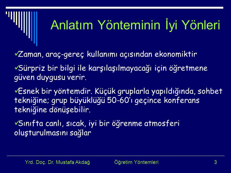 Yrd. Doç. Dr. Mustafa Akdağ Öğretim Yöntemleri3 Anlatım Yönteminin İyi Yönleri Zaman, araç-gereç kullanımı açısından ekonomiktir Sürpriz bir bilgi ile