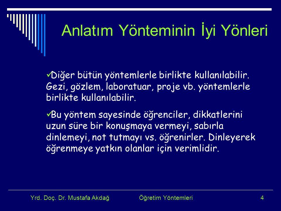 Yrd. Doç. Dr. Mustafa Akdağ Öğretim Yöntemleri4 Diğer bütün yöntemlerle birlikte kullanılabilir. Gezi, gözlem, laboratuar, proje vb. yöntemlerle birli