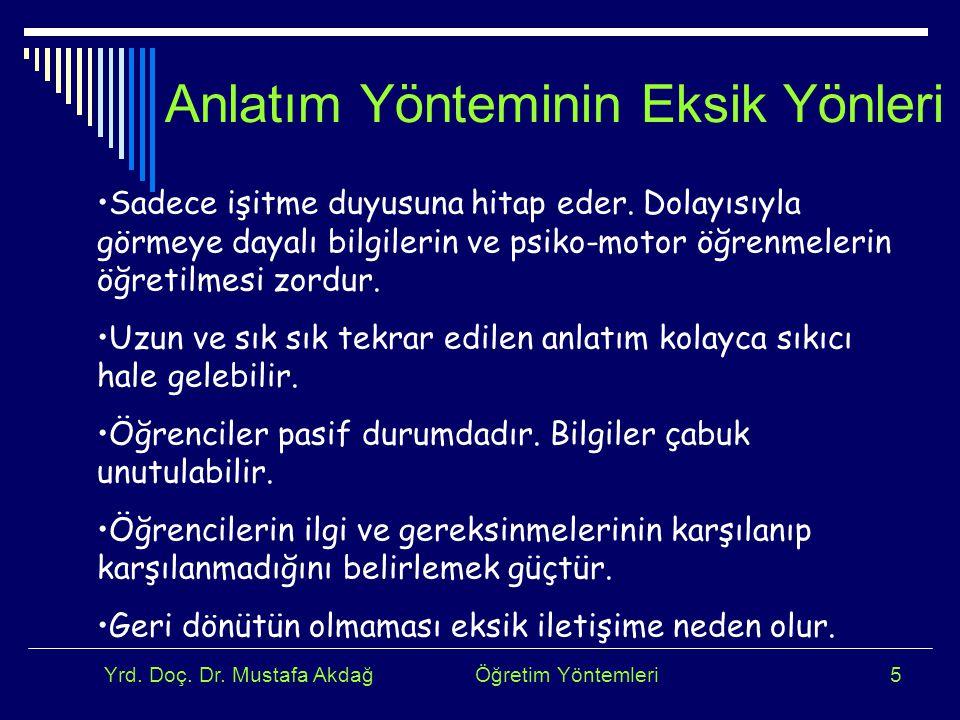 Yrd. Doç. Dr. Mustafa Akdağ Öğretim Yöntemleri5 Anlatım Yönteminin Eksik Yönleri Sadece işitme duyusuna hitap eder. Dolayısıyla görmeye dayalı bilgile