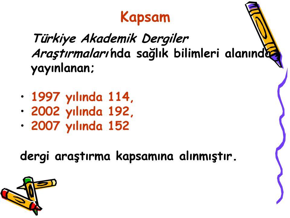 Kapsam Türkiye Akademik Dergiler Araştırmaları'nda sağlık bilimleri alanında yayınlanan; 1997 yılında 114, 2002 yılında 192, 2007 yılında 152 dergi araştırma kapsamına alınmıştır.