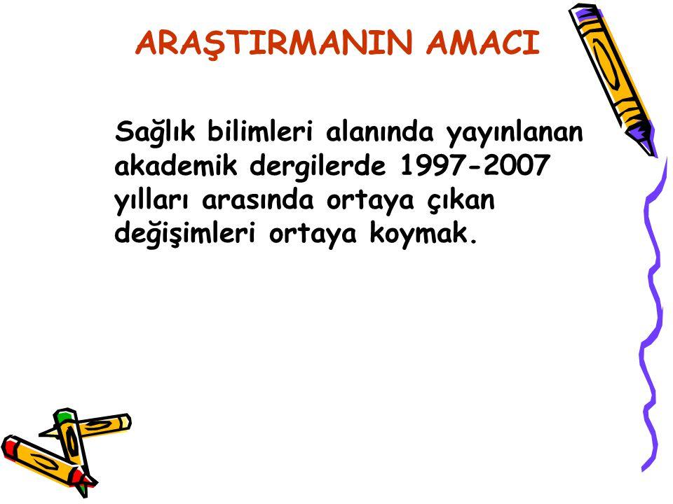 ARAŞTIRMANIN AMACI Sağlık bilimleri alanında yayınlanan akademik dergilerde 1997-2007 yılları arasında ortaya çıkan değişimleri ortaya koymak.