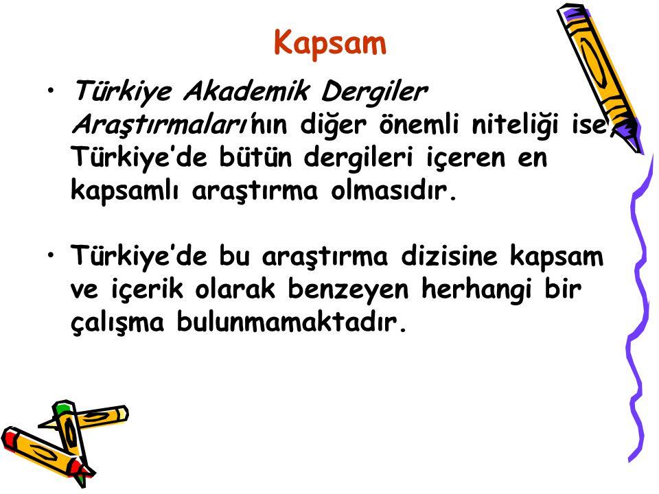 Kapsam Türkiye Akademik Dergiler Araştırmaları'nın diğer önemli niteliği ise, Türkiye'de bütün dergileri içeren en kapsamlı araştırma olmasıdır. Türki
