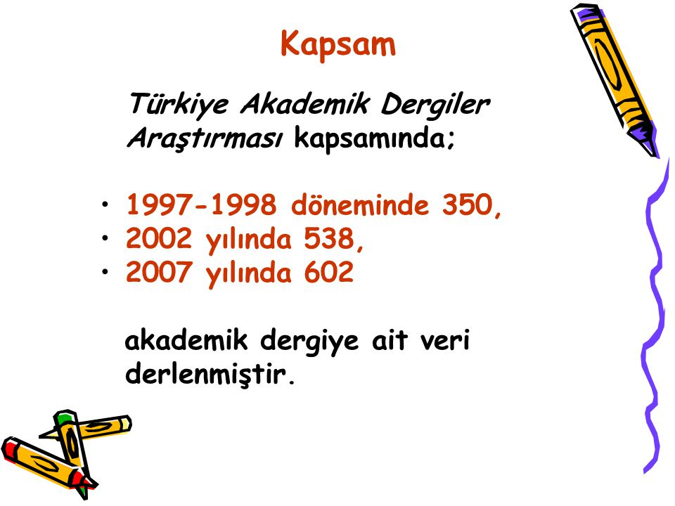 Kapsam Türkiye Akademik Dergiler Araştırması kapsamında; 1997-1998 döneminde 350, 2002 yılında 538, 2007 yılında 602 akademik dergiye ait veri derlenmiştir.