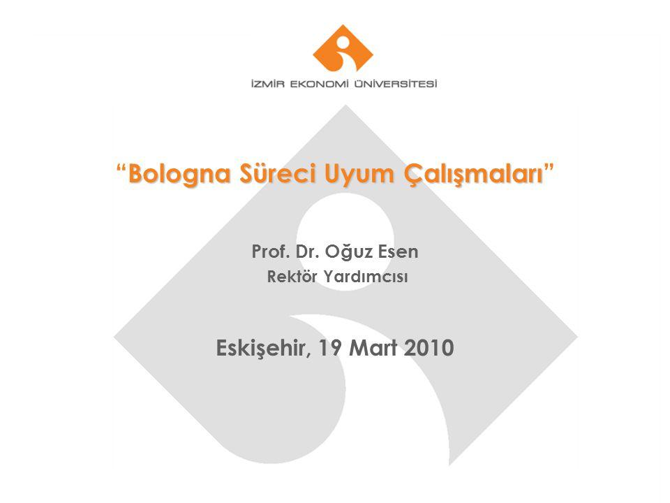 """Bologna Süreci Uyum Çalışmaları """"Bologna Süreci Uyum Çalışmaları"""" Prof. Dr. Oğuz Esen Rektör Yardımcısı Eskişehir, 19 Mart 2010"""