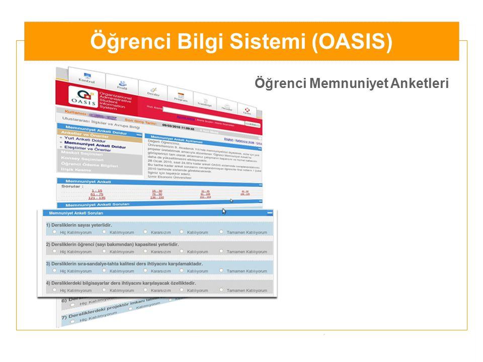 Öğrenci Bilgi Sistemi (OASIS) Öğrenci Memnuniyet Anketleri