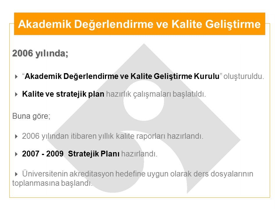 """2006 yılında;  """"Akademik Değerlendirme ve Kalite Geliştirme Kurulu"""" oluşturuldu.  Kalite ve stratejik plan hazırlık çalışmaları başlatıldı. Buna gör"""