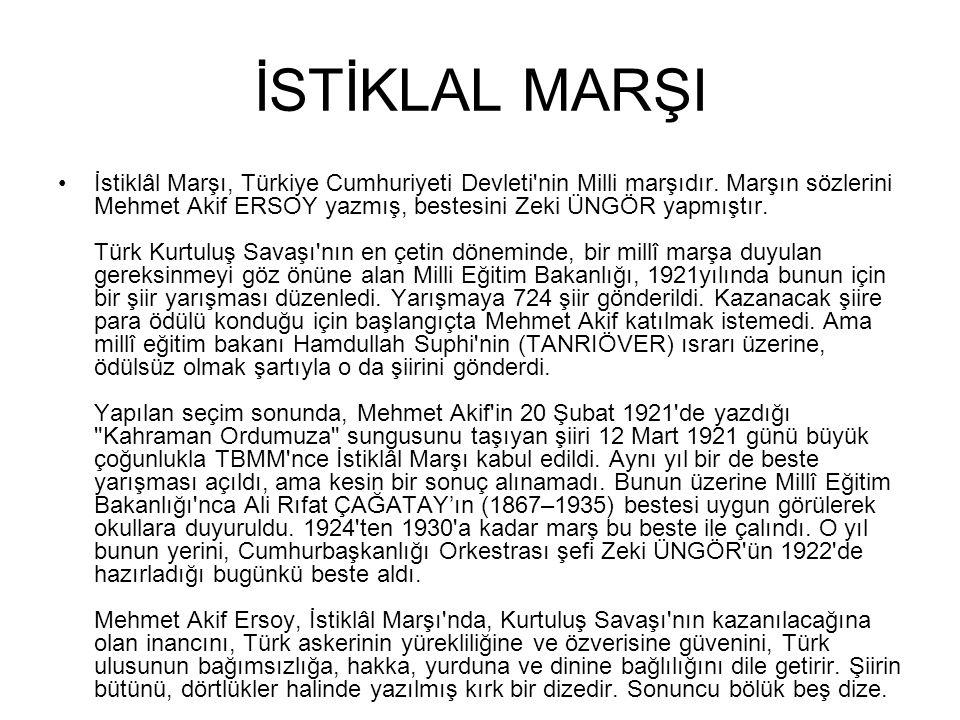 İSTİKLAL MARŞI İstiklâl Marşı, Türkiye Cumhuriyeti Devleti'nin Milli marşıdır. Marşın sözlerini Mehmet Akif ERSOY yazmış, bestesini Zeki ÜNGÖR yapmışt