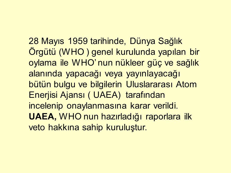 28 Mayıs 1959 tarihinde, Dünya Sağlık Örgütü (WHO ) genel kurulunda yapılan bir oylama ile WHO' nun nükleer güç ve sağlık alanında yapacağı veya yayın