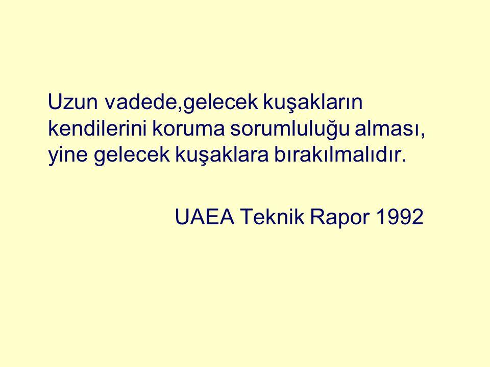 Uzun vadede,gelecek kuşakların kendilerini koruma sorumluluğu alması, yine gelecek kuşaklara bırakılmalıdır. UAEA Teknik Rapor 1992