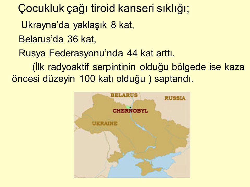 Çocukluk çağı tiroid kanseri sıklığı; Ukrayna'da yaklaşık 8 kat, Belarus'da 36 kat, Rusya Federasyonu'nda 44 kat arttı. (İlk radyoaktif serpintinin ol