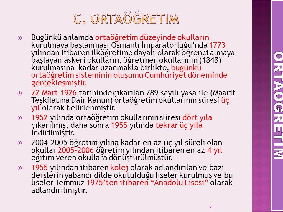 9  Bugünkü anlamda ortaöğretim düzeyinde okulların kurulmaya başlanması Osmanlı İmparatorluğu'nda 1773 yılından itibaren ilköğretime dayalı olarak öğ