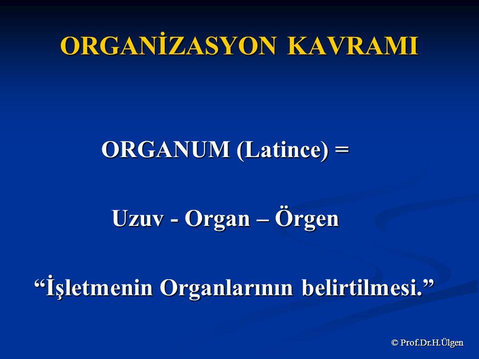 ORGANİZASYON KAVRAMI ORGANUM (Latince) = Uzuv - Organ – Örgen İşletmenin Organlarının belirtilmesi. İşletmenin Organlarının belirtilmesi. © Prof.Dr.H.Ülgen