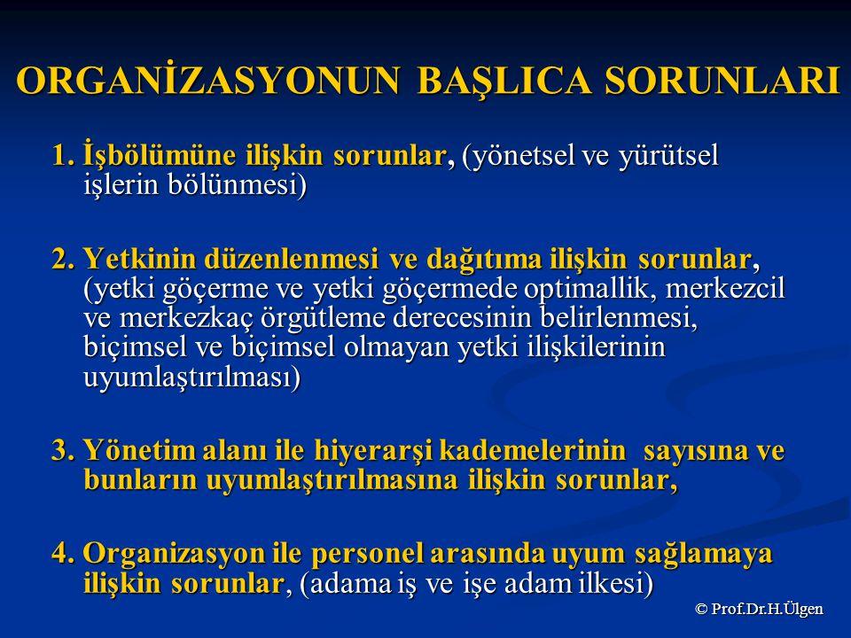 ORGANİZASYONUN BAŞLICA SORUNLARI 1.
