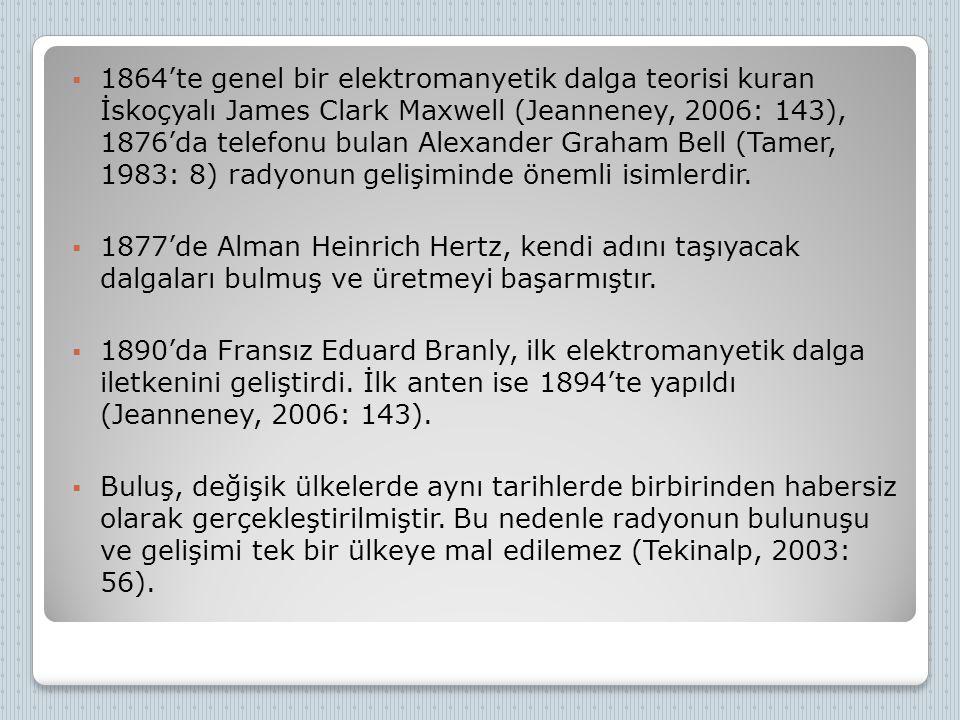  1864'te genel bir elektromanyetik dalga teorisi kuran İskoçyalı James Clark Maxwell (Jeanneney, 2006: 143), 1876'da telefonu bulan Alexander Graham